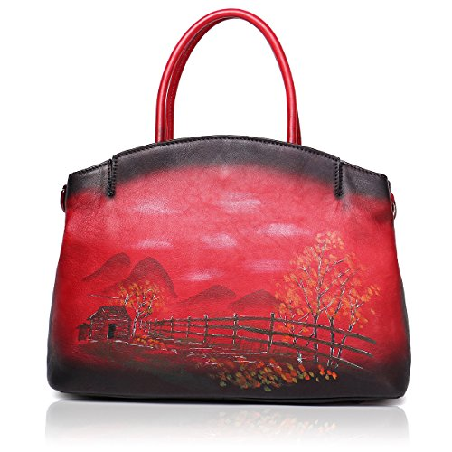 Red Women Handbags Ladies Satchels Leather Totes Bags Designer Shoulder for Soft APHISON xq14U1