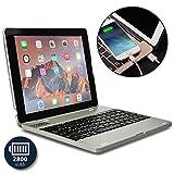 ipad 2 case keyboard - Apple iPad 4 keyboard case, iPad 3 keyboard case, iPad 2 keyboard case- [Bluetooth iPad Keyboard Case + Rechargeable Power Bank] COOPER KAI SKEL P1 Wireless Clamshell Design, 2800 mAh Battery (Silver)
