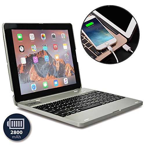 Apple iPad 4 keyboard case, iPad 3 keyboard case, iPad 2 keyboard case- [Bluetooth iPad Keyboard Case + Rechargeable Power Bank] COOPER KAI SKEL P1 Wireless Clamshell Design, 2800 mAh Battery (Silver)