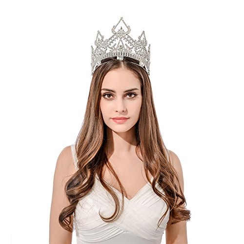DcZeRong Women Crowns Queen Crowns For Women Prom Pageant Party Rhinestone Crystal Full Crowns by DcZeRong (Image #1)