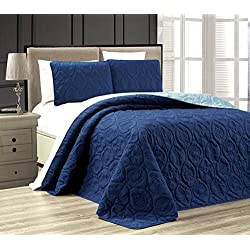 3-Piece Tropical Coast Seashell Beach KING Oversize OVERSIZE Bedspread NAVY / BLUE Reversible Coverlet Embossed Bed Cover set. Sea Shells, Sea Horse, Starfish etc.
