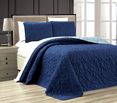 Starfish Linen (3-Piece Tropical Coast Seashell Beach QUEEN / FULL Oversize OVERSIZE Bedspread NAVY / BLUE Reversible Coverlet Embossed Bed Cover set. Sea Shells, Sea Horse, Starfish etc.)