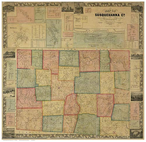 Susquehanna County Pennsylvania 1858 - Wall Map with Homeowner Names - Old Map Reprint ()
