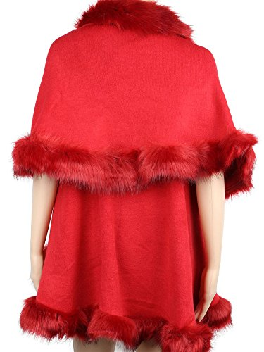 Womens Faux Fur Cape Coats Dress Plus Size (Wine Red) by Winfunup (Image #4)