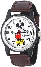 Disney Men's MCK617 Black Nylon Analog Quartz Watch with Silver Dial