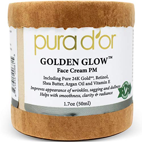 51WcWa1qGqL - PURA D'OR Golden Glow Face Cream PM - Anti Aging Face Cream With Pure 24K Gold for Firmer Skin, Reduced Appearance of Wrinkles and Increased Appearance of Brighter Skin (1.7oz)