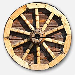Designart Antique Wagon Wheel' Oversized Farmhouse Metal Clock, Circle Wall Decoration Art, 38x38 Inches, Yellow