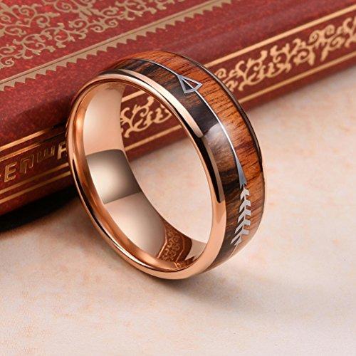 Three Keys Jewelry 6mm 8mm Tungsten Wedding Ring Koa Wood
