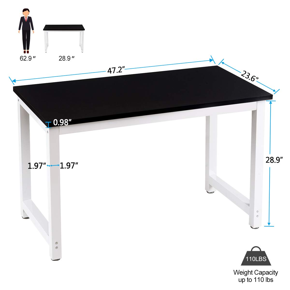 Toolsempire 47'' Office Computer Desk PC Laptop Dining Table Workstation Study Writing Desk for Home Office Furniture (Black) by Toolsempire (Image #6)