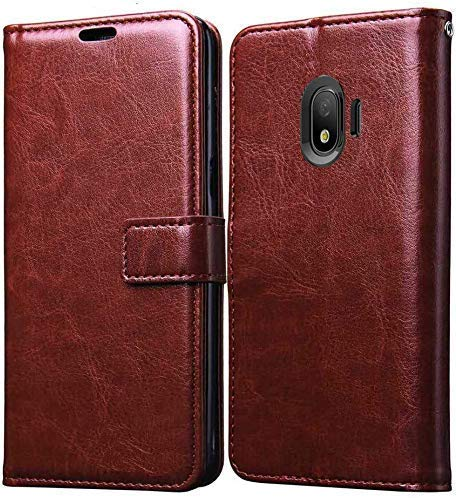 Finaux Vintage Flip Cover Leather Case : Inner TPU, Leather Wallet Stand for Samsung Galaxy J2 Pro 2018   Brown