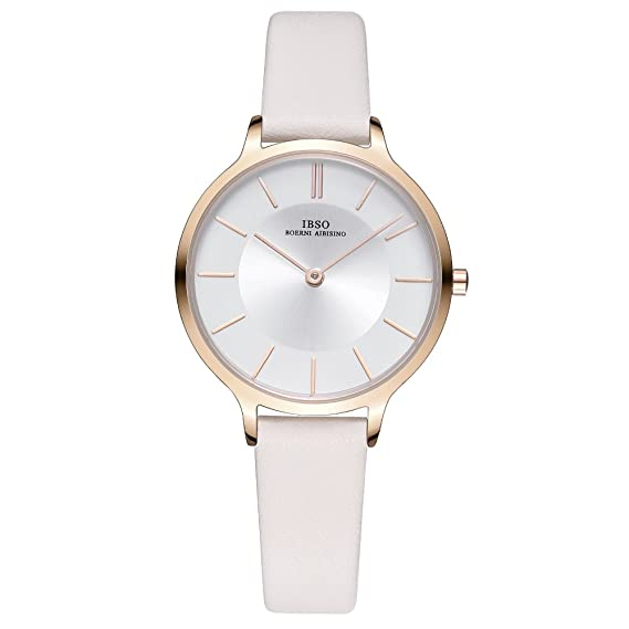 d4374750d IBSO Women Fashion Simple Watch Ultra-Thin Retro Quartz Analog Leather  Strap Ladies Wristwatch (