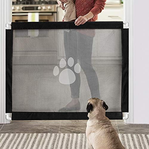 Namsan Portable Pet Gate – Dog Gates with Holder Wall Mount for Doorways, Stairs, House, Fits Less Than 39″ Wide (30″ Tall)