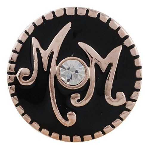 (Snap Charm Rose Gold Mom Black Background Clear Crystal Center 20mm Standard Size 3/4