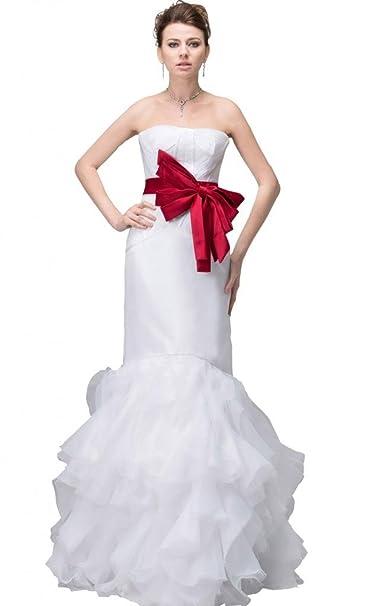 George Bride Exquisite vestido de novia con satén Borgoña Sash Vestidos de novia Vestidos de Boda