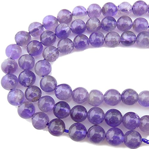 2 Strands 6MM Average Quality Amethyst Gemstone Gem Round Loose Stone Beads for Jewelry Making&DIY&Design (RS-1017-6)