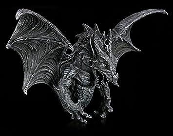Drachen Kopf Wandrelief mit LED Augen silberfarben Figur Fantasy Gothic