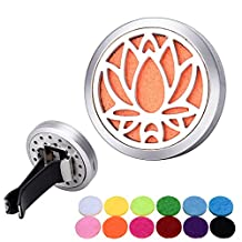 Bluesnow Car Air Freshener Aromatherapy Essential Oil Diffuser Clip, Stainless Steel Hollow Lotus 2 Round Locket with 12 Refill Pads