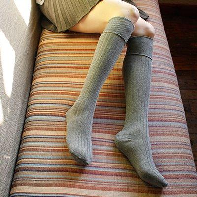 Maivasyy 3 paires de chaussettes Femmes de coton mince corps haute de genou chaussettes Printemps Skinny, gris