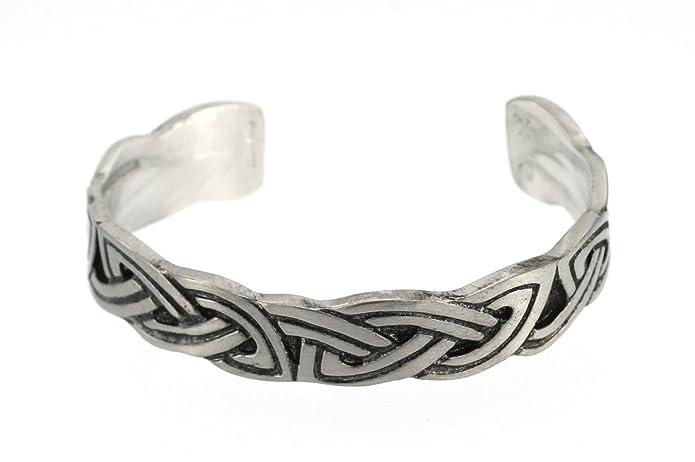 Handmade Celtic Double Interlace Silver Shine Pewter Cuff Bracelet (Adjustable) EOEmbjUqcP