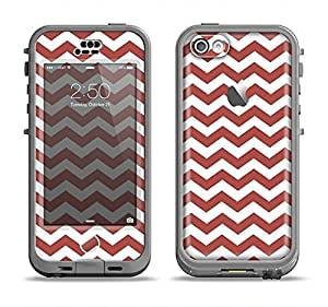 The Maroon & White Chevron Pattern Apple iPhone 5c LifeProof Nuud Case Skin Set (Skin Only)