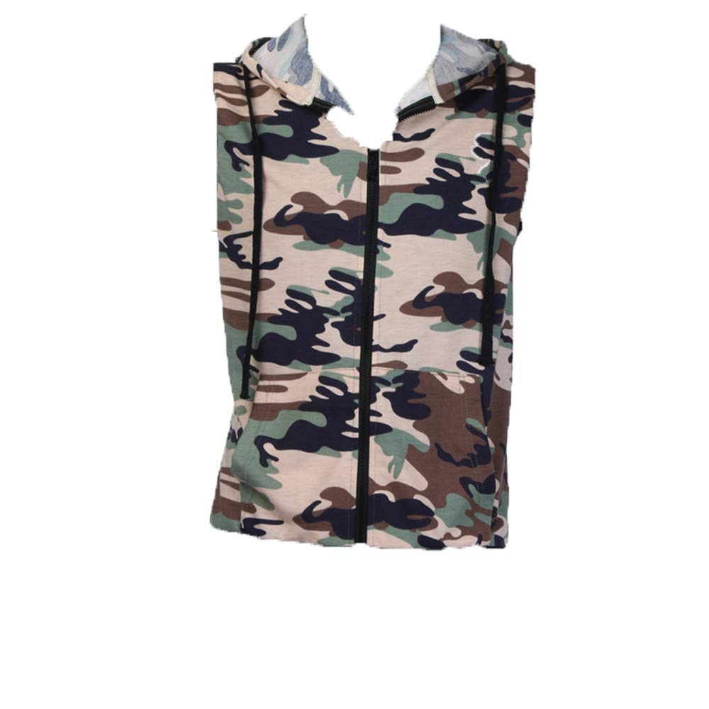 Camouflage Men Tank Cami Top Vest Sleeveless T Shirt Tee Shirt Hooded Casual Hoodie