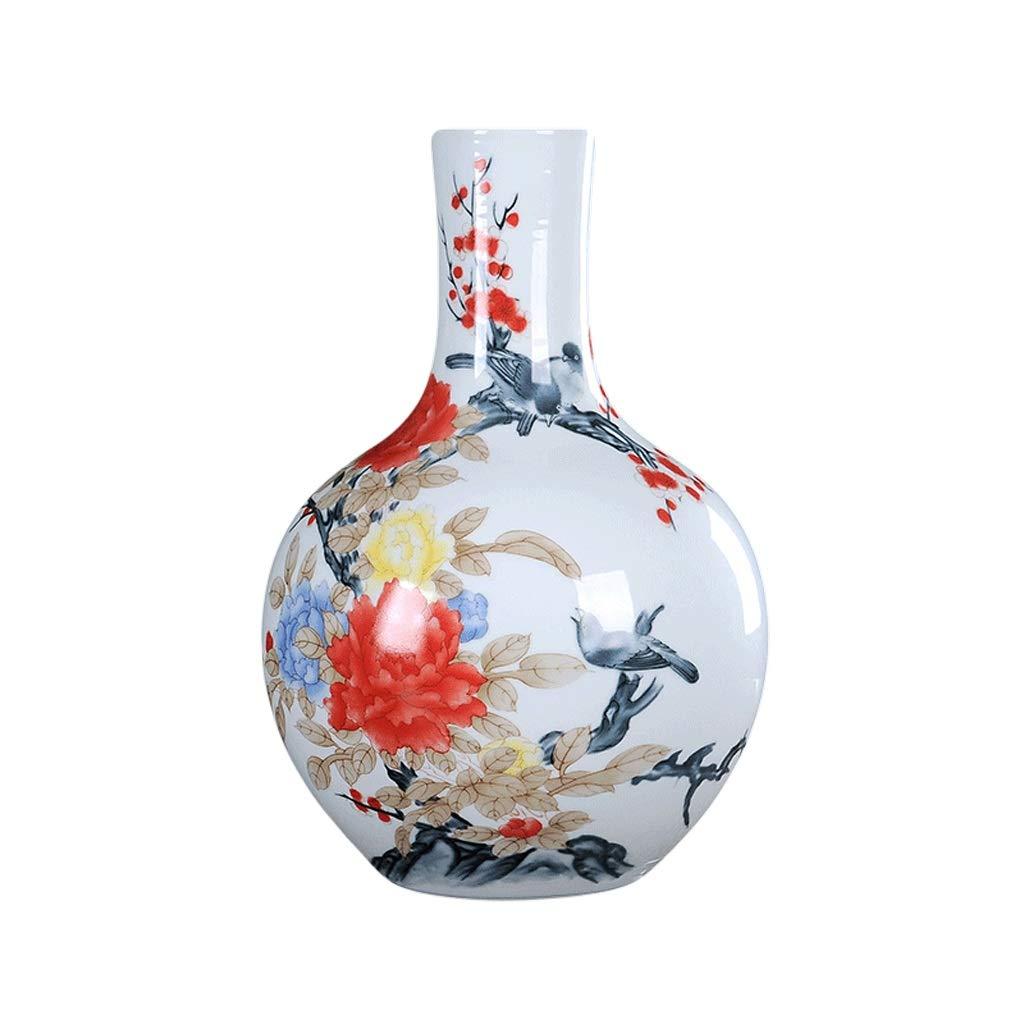 LIULIJUN 花瓶セラミックスリビングルーム花瓶装飾花と鳥現代中国の家の装飾アンティーク磁器ボトル工芸品 (Size : M) B07T7V2V7F  Medium