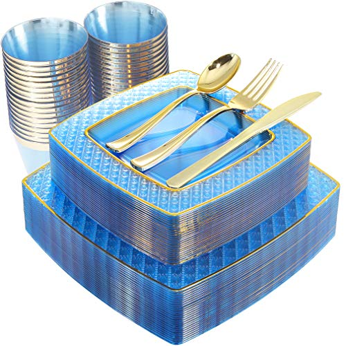 Royal Blue And Pink (Nervure 150PCS Blue with Gold Sqaure Plastic Plates & Gold Silverware Set:25 Dinner Plates 9.5