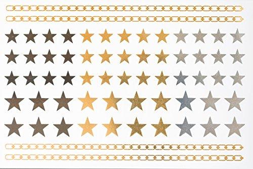 Corps étoiles d'or autocollant de tatouage temporaire Set de Pack 4