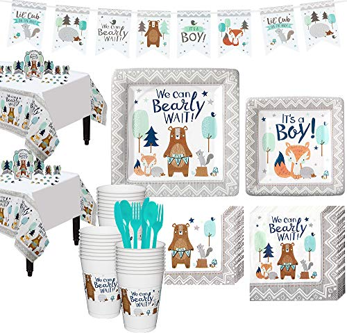 Party City Can Bearly Wait Baby Shower Kit for 32 Guests, Includes Table Covers, Table Decorating Kit and Banner -