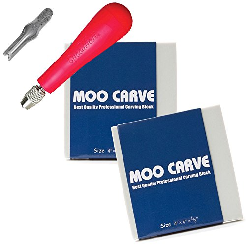 Moo Carving Printing Studio Pack Of Easy To Cut Soft Blocks With Speedball Linoleum Cutting Tool