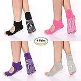 Yoga Socks Toeless Non Slip Skid Pilates Grippy Barre Cotton Sock for Women Pack of 4