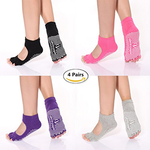 Pack of 4 Yoga Socks Toeless Pilates Grippy Barre Non Slip Skid Cotton for Women