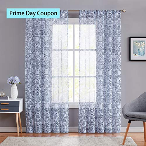 ECODECOR Blue Damask Print Sheer Curtains 95