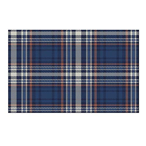 YOLIYANA Checkered Durable Door Mat,Abstract Striped Design Scottish Culture Inspired Celtic Fashion for Home Office,19.6