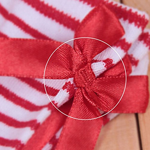 Haresle Girls Kids Knee High Socks Striped Long Socks with Bowknot (Red + White) by Haresle (Image #4)
