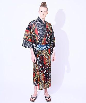 YOKAYOKA Men's Japanese Kimono Yukata with Sophisticated African Designed by
