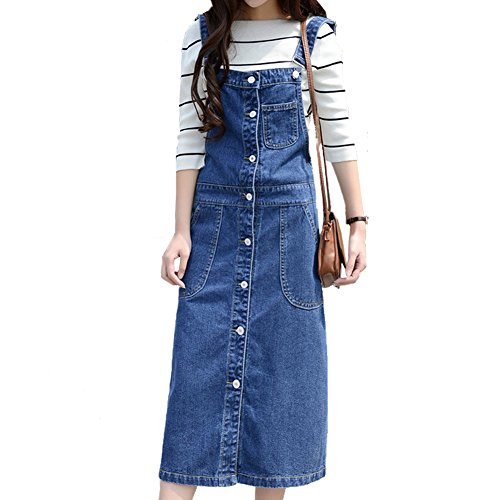 Womens Buckle Strap Button Overall