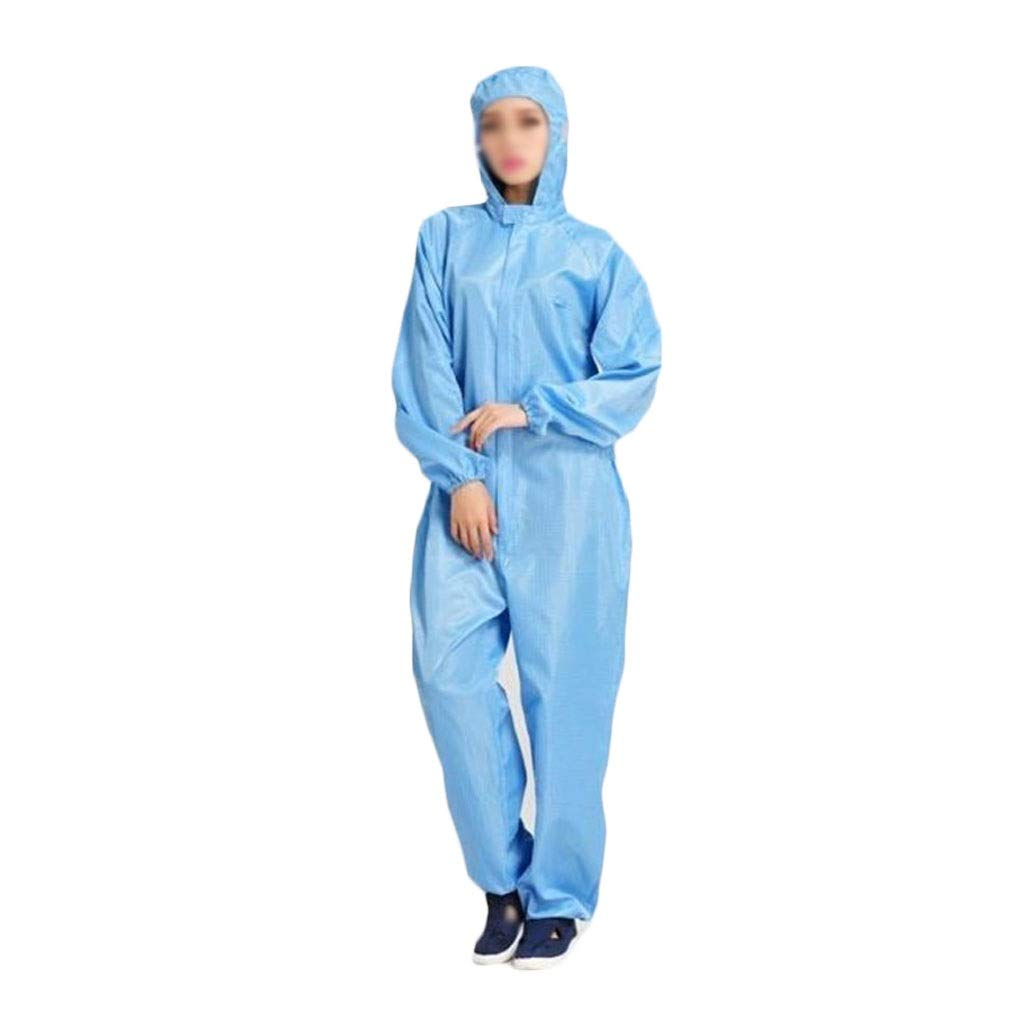 YYTL Anti-Static Coveralls, Dust-Proof Hooded Overalls, Sterile and Clean, Used in Workshop Painting Wood Processing, White/Blue-3 Pieces (Color : Blue, Size : M) by YYTL