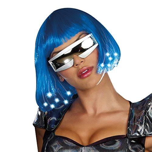 Light Up Blue Wig (Dreamgirl Light Up Blue Wig Dress, Blue, One Size)
