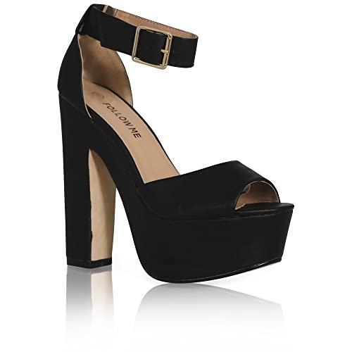 12605a447ef5 NEW WOMENS LADIES ANKLE STRAP PLATFORM CHUNKY HIGH HEEL SANDALS SHOES SIZE  3-8  Amazon.co.uk  Shoes   Bags