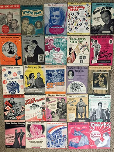 (SHEET MUSIC SPECIAL MOVIE MUSIC COLLECTION LOT (SHSP16): Sheet Music Lot has 25 pieces of vintage MOVIES sheet music for one price of $80; all sheet musics shown in the photograph are included (see photo for details). There are Sheet Musics from Movies with Judy Garland, Bing Crosby, Bob Hope and films like HOLLYWOOD REVUE of 1929, GOOD NEWS, BROADWAY MELODY 1929, GOING MY WAY, STATE FAIR . All Sheet Musics are in VERY GOOD or better condition, with the majority in excellent condition. SHSP16)