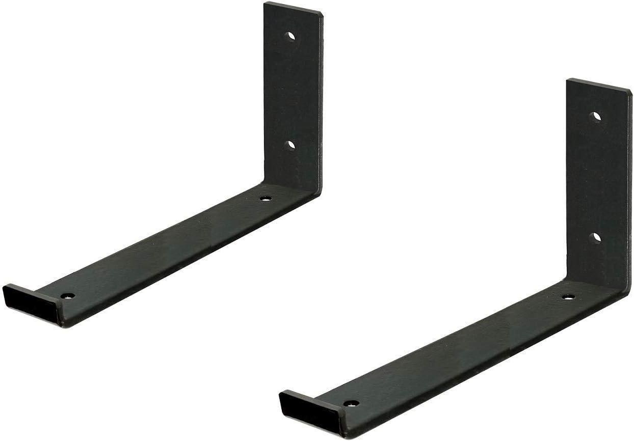 Shelf Brackets For A True 8 Inch Lumber Board Rustic Heavy Duty Shelf Supports Hook Iron Shelf J Bracket Lip Metal Modern Industrial Shelf Bracket 2 Pack Home Improvement
