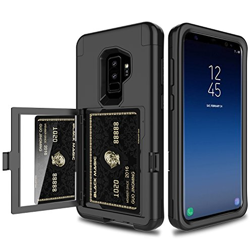 Galaxy S9 Plus Case, Elegant Choise 3 in 1 Wallet Case with Hidden Back Mirror Heavy Duty Full Body Protection Rugged Case Cover with Card Slot Holder and Kickstand for Samsung Galaxy S9 Plus (Black)