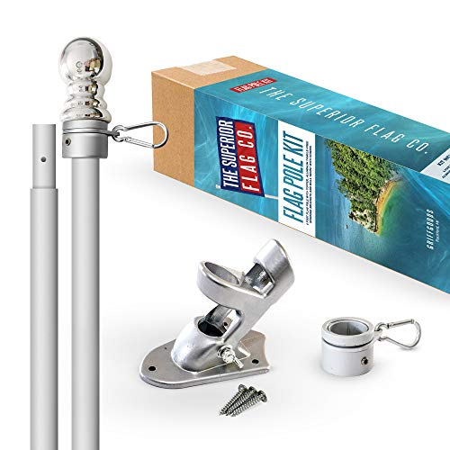 Heavy-Duty 6 Foot Flag Pole Kit with Silver Ball Topper, Aluminum Tangle-Free Spinning Rings and Bracket: Wind Resistant and Rust-Free Flagpole for House, Porch, or Business