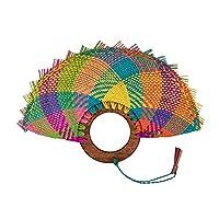 Abanico de Palma de Jipijapa con asa de madera circular, color personalizable 1pza