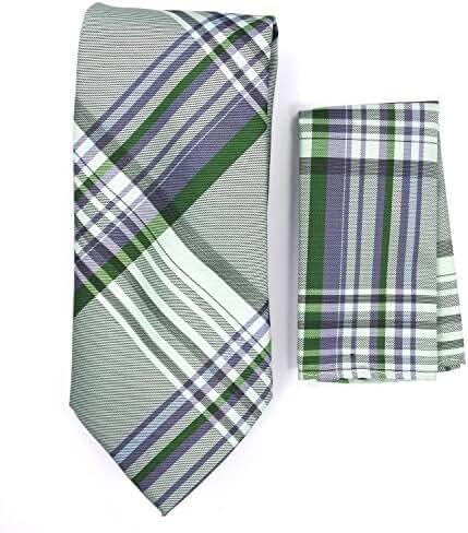 Plaid Necktie & Matching Pocket Square Handkerchief Set