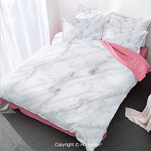 Carrara Lamp - Homenon Marble Girl's Room Cover Set Full Size,Carrara Marble Tile Surface Organic Sculpture Style Granite,Decorative 3 Piece Bedding Set with 2 Pillow Shams Dust Grey White