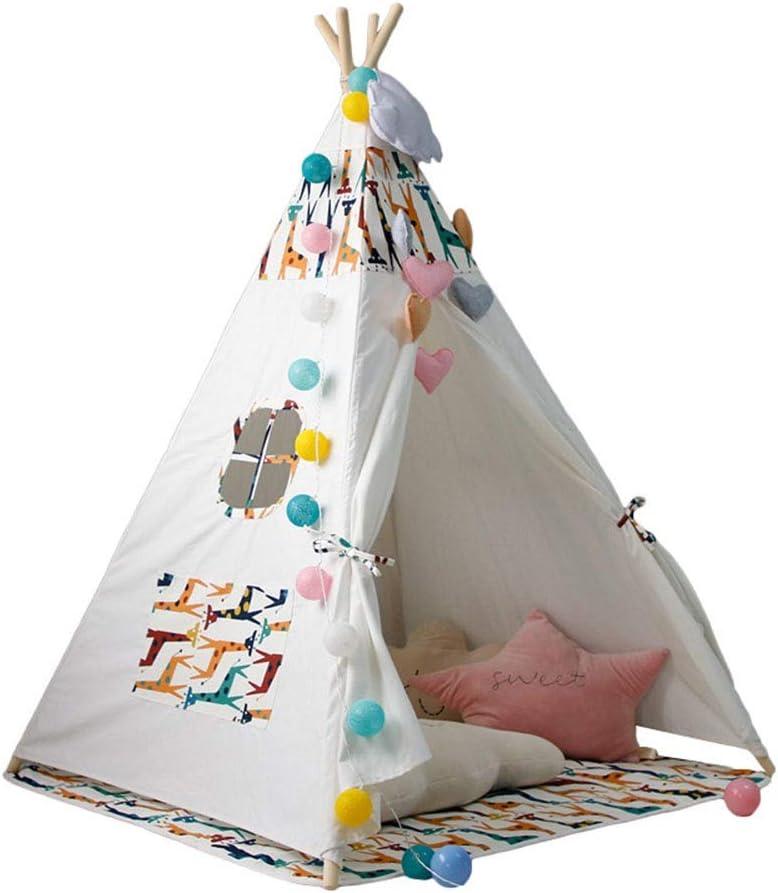 快適な子供たちは子供の幼児の屋内と屋外のゲームのためにテント屋内インディアンプレイハウス玩具ティーピーを再生します - 子供の屋内キャンプ (Color : White1, Size : 120x120x145cm)