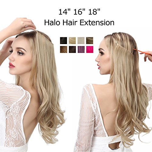 Platinum Blonde Halo Hair Extension Secret Invisiable Flip Hidden Wire Crown Natural Curly Long Synthetic Hairpiece For Women Japan Heat Temperature Fiber SARLA 18