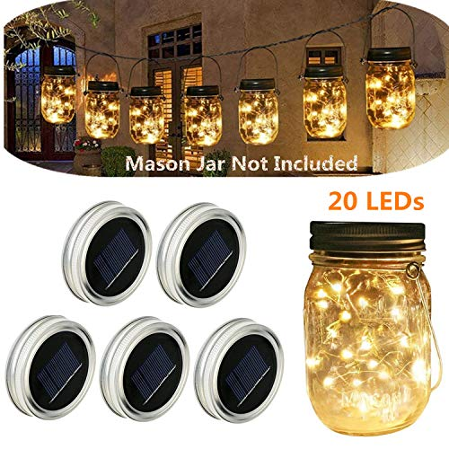Solar powered Mason Jars Lights,Solar Fairy Lights Lids Fit for Regular Mouth Hanging Mason Jars Decor 5-Pack 20 Bulbs Warm White